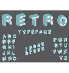 isometric retro typeface font in vintage style vector image