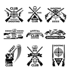 Labels set for shooting club of vector