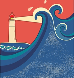 Lighthouse posterSeascape color background vector