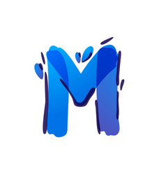 M letter eco logo with blue water drops vector