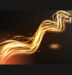 magic light gold wavy dynamic lines with sparkles vector image