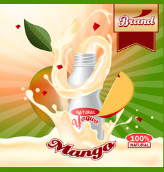 mango yogurt ads splashing scene with package and vector image