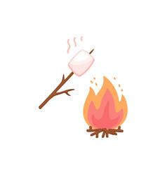 Marshmallow on stick roasting on bonfire flat vector