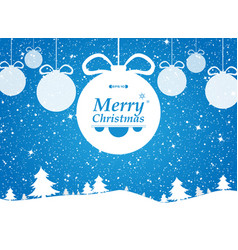 merry christmas of blue background in forest vector image