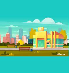 modern city bank office building cartoon vector image