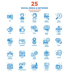 Modern Flat Line Color Icons Social Media and vector