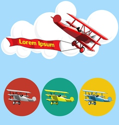 Old airplane model flying in the sky with clouds vector
