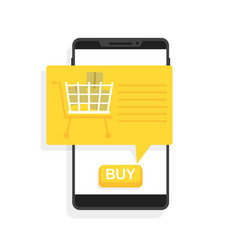 Online shopping via phone button to buy vector
