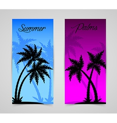 Palm silhouettes cards vector image