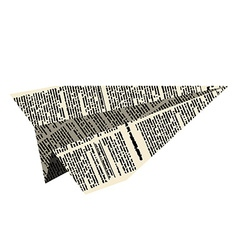 Paper plane Aircraft from newspaper on white vector image