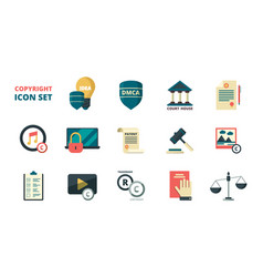 Patent copyright icons intellectual property vector