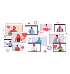 People chatting in online dating app men women vector