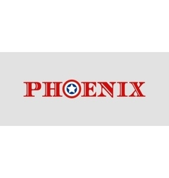 Phoenix city name with flag colors styled letter O vector