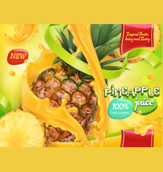 Pineapple juice sweet tropical fruits 3d vector