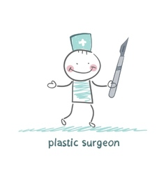 Plastic surgeon with a scalpel vector