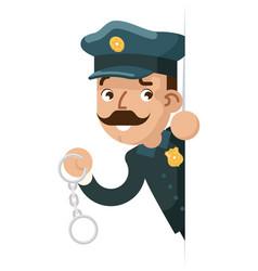 Policeman detective handcuffs look peeking out vector