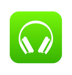 Protective headphones icon digital green vector