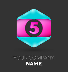 Realistic number five logo in colorful hexagonal vector
