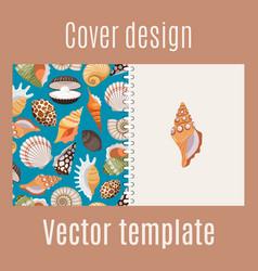 realistic sea shell pattern cover design vector image
