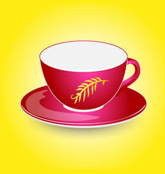 Red empty cup mockup on plate design vector
