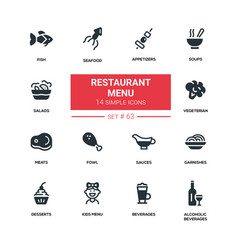 Restaurant menu - line design silhouette icons set vector