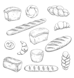 Retro bakery and pastry sketches vector