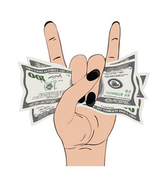 Rock-n-roll hand gesture with clutched currency vector