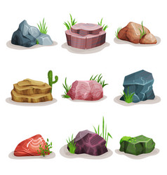 Rock stones set colorful boulders with grass vector