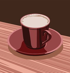 scarlet cup of cocoa is on the a scarlet saucer vector image