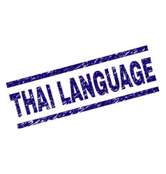 Scratched textured thai language stamp seal vector