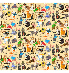 seamless pattern with cats dressed in costumes vector image
