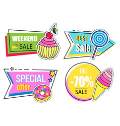 Set best sale banners weekend sale discount vector