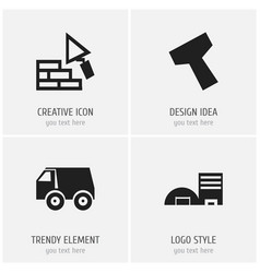 set of 4 editable structure icons includes vector image