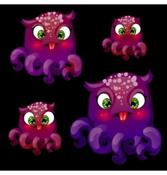 Set of four cute playful purple octopus vector