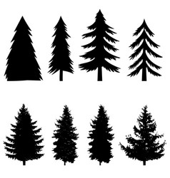 Set silhouettes pine tree isolated on white vector