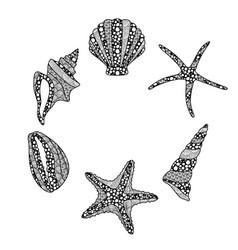 set zen art style hand drawn sea stars and vector image