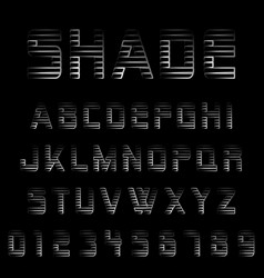 shade alphabet font template vector image