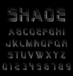 Shade alphabet font template vector