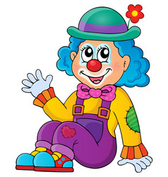 Sitting clown theme image 1 vector