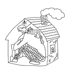 Small home young man black and white vector