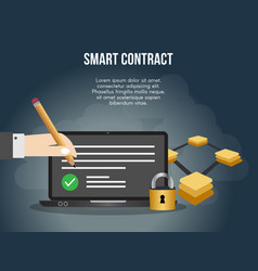smart contract concept design template vector image