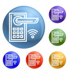 Smart door lock icons set vector