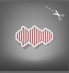 sound waves icon red icon with for vector image