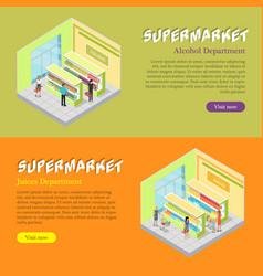 supermarket departments isometric web banners set vector image
