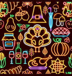 Thanksgiving neon seamless pattern vector