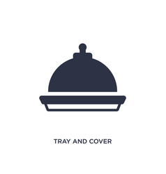 Tray and cover icon on white background simple vector