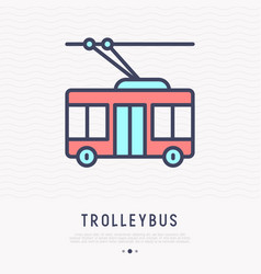Trolleybus thin line icon side view vector