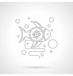 Underwater photo hunt detailed line icon vector