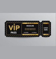 vip pass admission ticket vector image