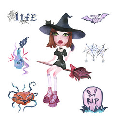 watercolor magic set witches for halloween vector image